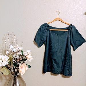 LOFT Dark Gray Short Sleeve Thin Knit Top Sz M